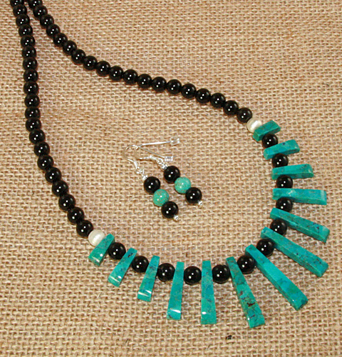 Turquoise-and-Agate-Tapered-Set