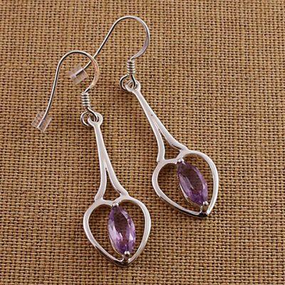 Amethyst--Heart-Long-drop-earrings