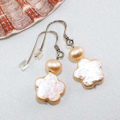 Apricot-Pearl-Flower-Earrings-