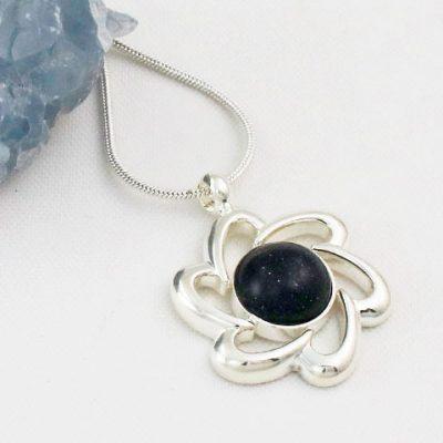 Blue-Goldstone-Flower-Pendant