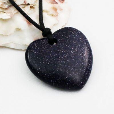 Blue-Goldstone-arge Heart Pendant
