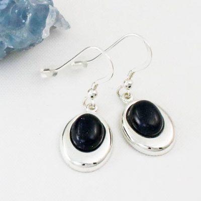 Blue-Goldstone-Offset Oval Earrings
