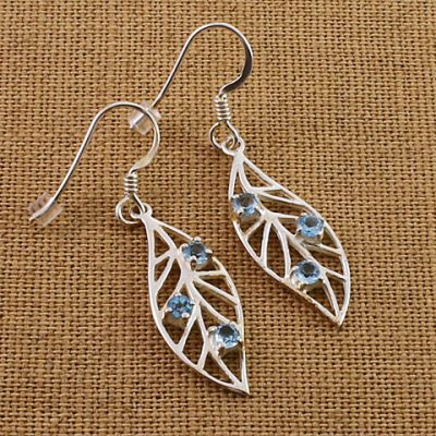 Blue-Topaz-leaf-Earrings