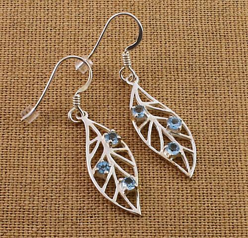 Blue-Topaz-leaf-Earrings