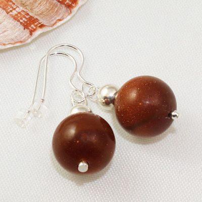 Brown-Goldstone-Bead-Earrings