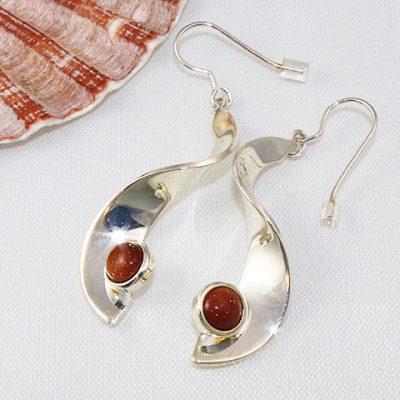 Brown-goldstone-Drop-Earrings