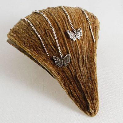 Butterfly-pull-through earrings