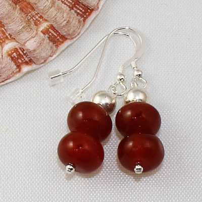 Carnelian-button earrings