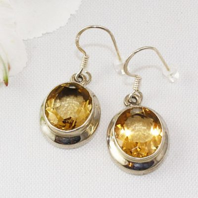 Citrine-Oval-Faceted-Earrings