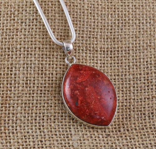 romantic coral women gemstone item lucky natural pendant red pisces silver trendy couple necklace