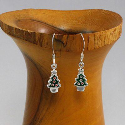 Enamelled-Christmas-Tree Earrings