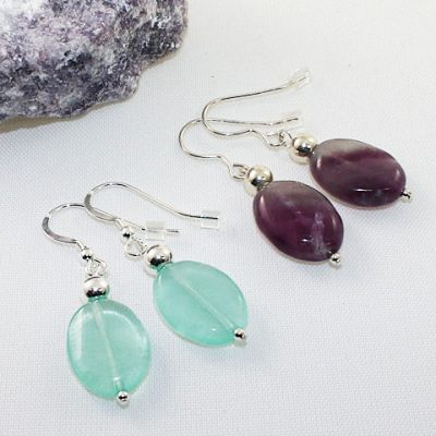 Fluorite-Oval Earrings