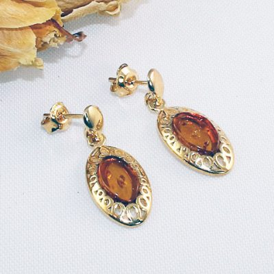 Amber Gold-plated-earrings