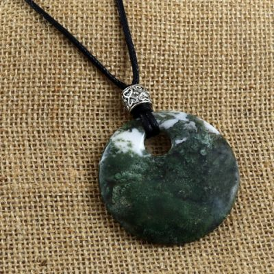 Green-Moss-Agate-Round-Pendant