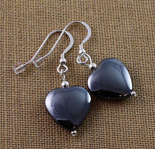 Hematite-Heart-Earrings