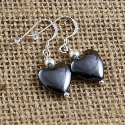Hematite-Heart-Earrings