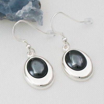 Hematite-Offset-Oval-Earrings