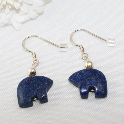 Lapis Lazuli Bear Earrings