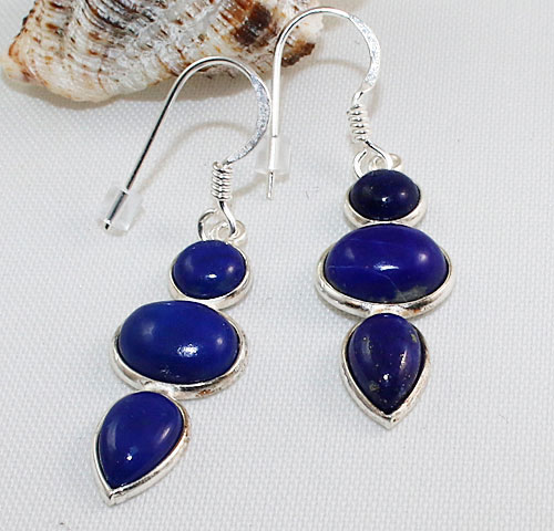 Lapis Lazuli Three Stone Earrings