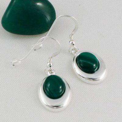 Malachite-Offset-Oval-Earrings
