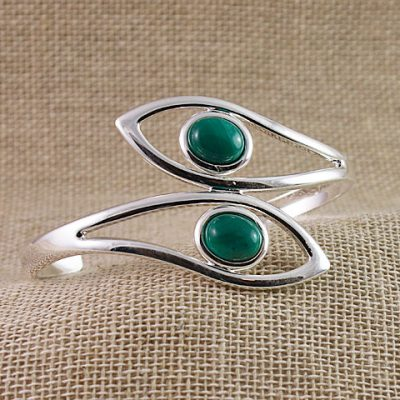 Malachite-Two-Stone-Bangle