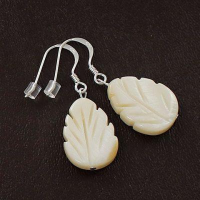 Mother-of-Pearl-Leaf-Bead-Earrings