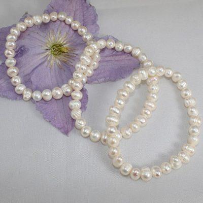 White Pearl Stretchy Bracelets