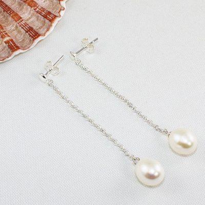 Pearl-Stud-and-Chain-Earrings