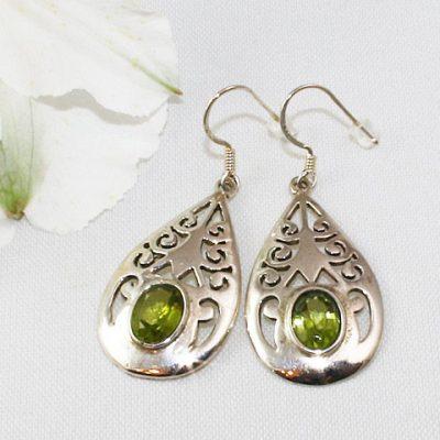 Peridot-Teardrop-Earrings