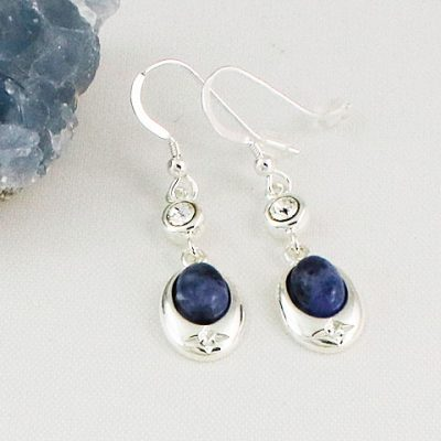 Sodalite-Crystal-Accent-Earrings