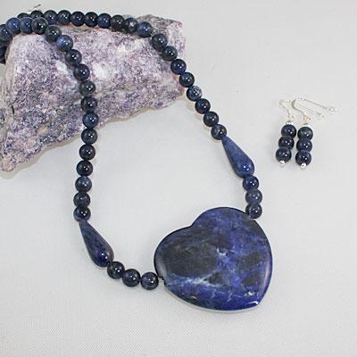 Sodalite Heart and Bead Set