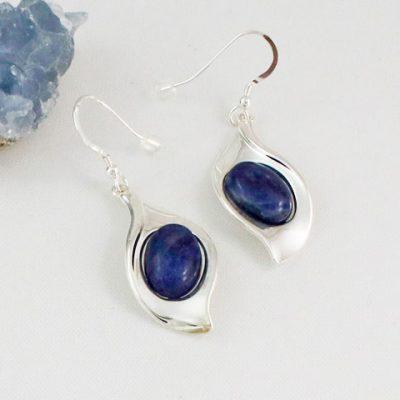 Sodalite-Leaf-Earrings