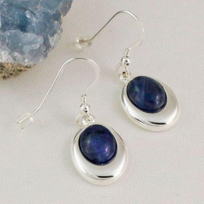 Sodalite-Offset-Oval-Earrings