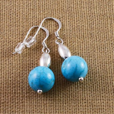 Turquoise-Bead-and-Silver-Earrings