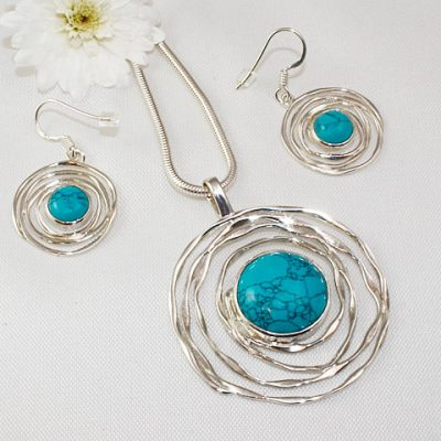 Turquoise-Necklace and Earrings