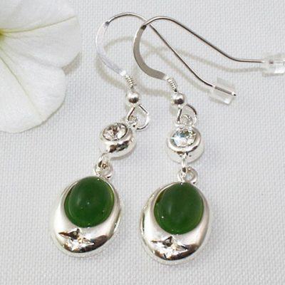 Jade Crystal Accent Earrings