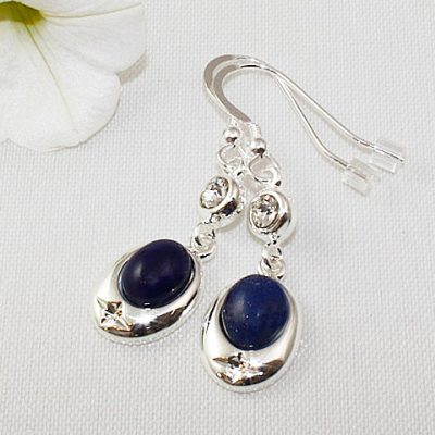 Lapis Lazuli Crystal Accent Earrings